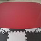 猫足、レッドの折り畳みテーブル