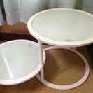 円形 乳白色ガラス サイド2段テーブル