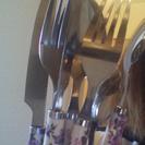 フランフランのミッキー形プレート、花柄スプーンナイフ等5点セット