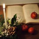 経堂カフェ クルミ堂にて、クリスマスのキャンドルアレンジメントのワ...