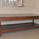 値下げします!!!濃い木目、上品な長めの2段サイドテーブル