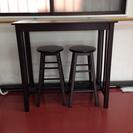 【終了】ハイテーブル、チェア2脚セット