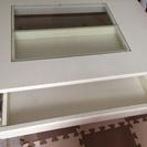 上面ガラス窓&引き出し付きローテーブル(白)