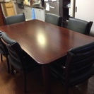 6人掛け用木製テーブル、椅子