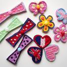 夏休み 親子刺繍教室 刺繍のワッペン作り