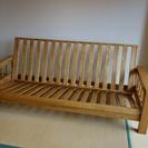ウオルナット系無垢材使用ソファーベッド(フレームのみ)