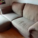 【無料】IKEA3人掛けソファ+オットマン差し上げます。