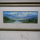 油絵 「  山と森と川  」