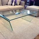 オールガラステーブル ローテーブル 強化ガラス つなぎ目なし
