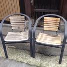 カフェ風ガーデンチェア2脚セット