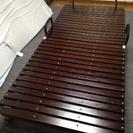 折りたたみ式すのこベッド  シングルサイズ(ダークブラウン)
