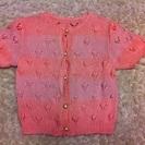 子供服 1~3歳くらい ピンク 半袖 ガーディガン 刺繍糸の手編み