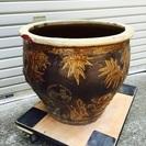【終了】金魚鉢 水鉢 パンダ柄 陶器製