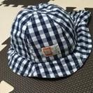★ベビー帽子 48㎝★美品 濃紺チェック柄 夏向き