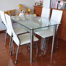 ダイニングテーブルセット(ガラステーブル+椅子4脚)※事情により再掲載