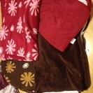 毛布とフリースパッド赤茶の2セット