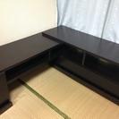 伸縮式 テレビボード ダークブラウン