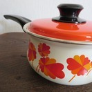 ◆昭和レトロ◆ミッチホーロー・片手鍋・花柄・未使用・16㎝琺瑯 − 神奈川県