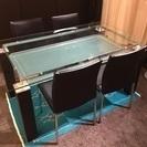 綺麗なガラスのダイニングセット椅子4点
