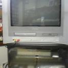 【譲渡】 21型 テレビデオ(デジタル非対応)&テレビ台
