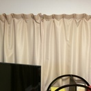 【美品】カーテン ベージュ/白 遮光なし W145/T135 高窓...