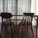 ケユカダイニングセット テーブル&椅子2脚&ベンチ