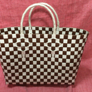 新品 プラスチックバッグ ブラウン&ホワイト