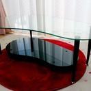 強化ガラステーブルとラグマット3点セット
