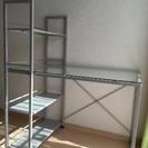 【取引完了】棚つきガラス天板の机 ...