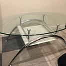 おしゃれなガラステーブル 楕円形 強化ガラス