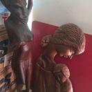 【木彫りオブジェ、お面】 アフリカ系民芸品◆木製◆置物・お面◆イ...