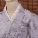 【送料込み可】本場白大島紬(正絹、袷、風景柄)