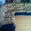 昭和レトロな黄色の花柄のソファー 5点