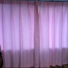 ピンクのカーテン&レースセット