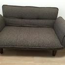 三人掛け布製リクライニングソファー こげ茶  ★美品の画像