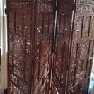 【相談中】重厚感のある木製手彫りパーテーション(アジアンインテリア)