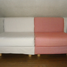 急 無印良品 布張りソファ 連結可能1人用×2脚