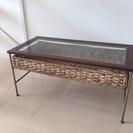 バリ ラタン ガラステーブル