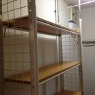 終了)突っ張りラック 棚 壁面収納 幅90 棚板5枚 美品 可動式...