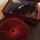 重厚なガラステーブルとソファ 3点セット