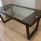 【交渉中】ガラステーブル/折りたたみ/ブラウン/茶色