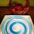 マルティガラス 新品 皿、花瓶(使用)