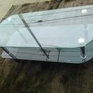 【オシャレ】ガラス製品 ブラック調 2段 センターテーブル
