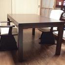 【価格変更】ダイニングテーブルこたつセット(こたつ布団、回転椅子2...