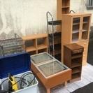 テーブル、本棚、ラック、電話台、洗浄機など一式
