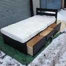 収納付きシングルベッド マット付き