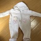 【女の子】ピンクのハート柄・ロンパース 50-60