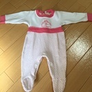 【女の子】ピンクのドット・ロンパース 50-60