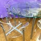 四人掛けガラス丸テーブル