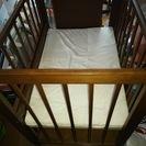 【中古】 ベビーベッド 長さ90cm×幅65cm ★枕、掛け布団、...
